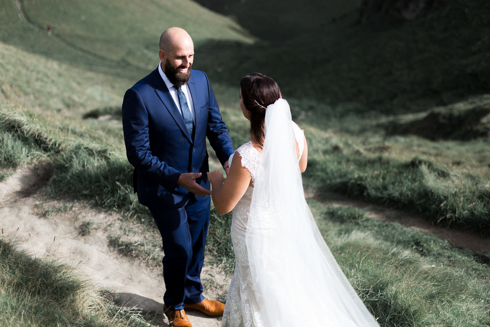 Joy of first look | Astra bride Erin | Christina Rossi 4246 | Te Awa Winery | Josh Neilson Photography