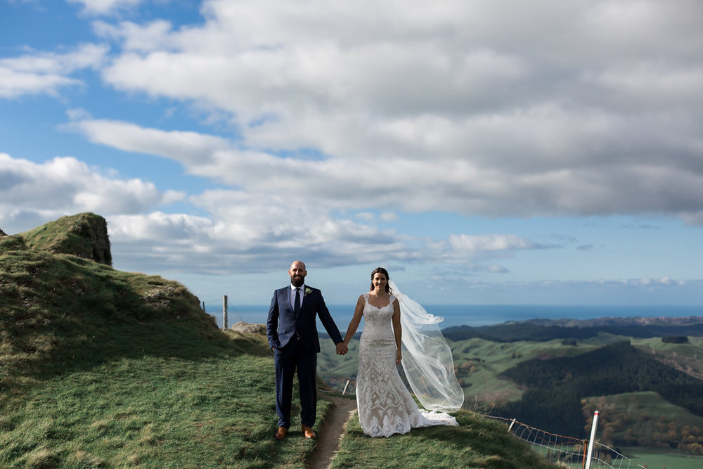 Blue skies | Astra bride Erin | Christina Rossi 4246 | Te Awa Winery | Josh Neilson Photography