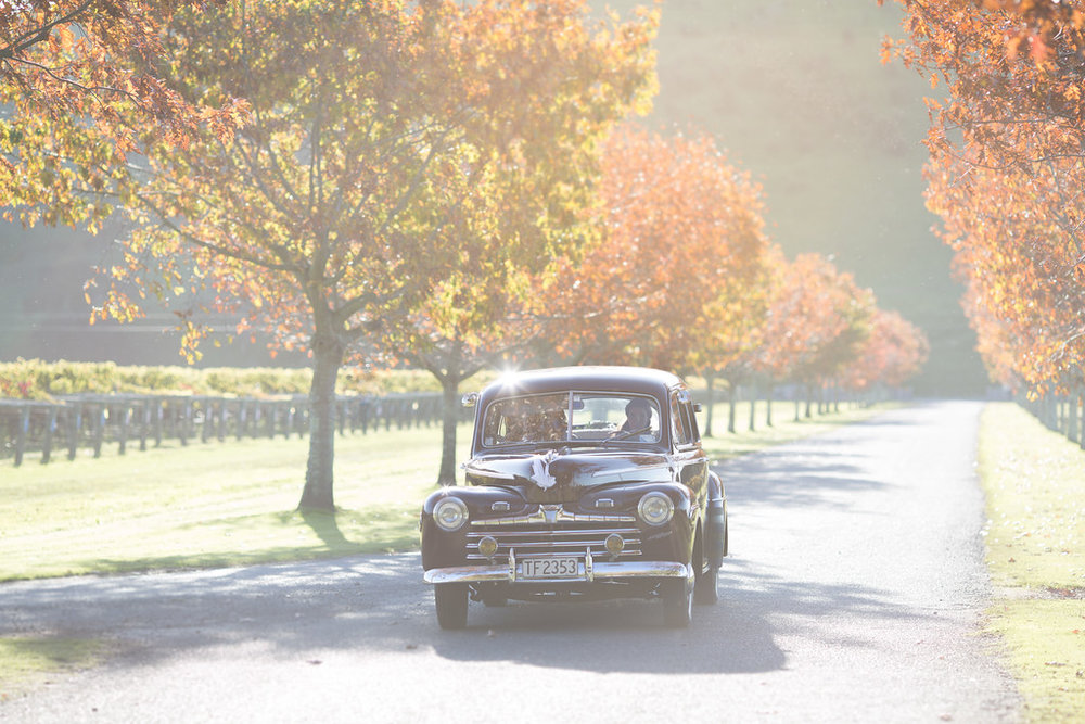 Vintage car | Astra bride Erin | Christina Rossi 4246 | Te Awa Winery | Josh Neilson Photography