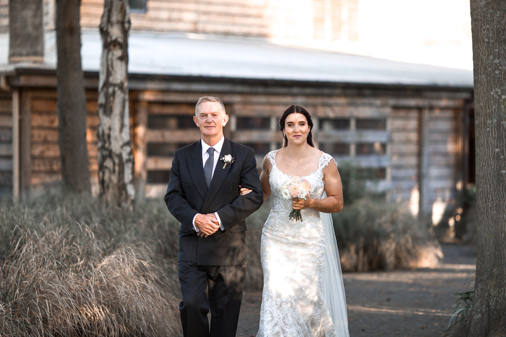 Erin & Dad | Astra bride Erin | Christina Rossi 4246 | Te Awa Winery | Josh Neilson Photography