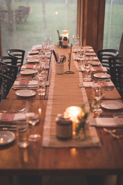 Rustic table setting | Astra bride Erin | Christina Rossi 4246 | Te Awa Winery | Josh Neilson Photography