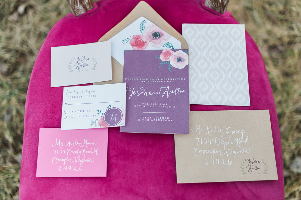 Purple invitations | Melissa Durham Photography | Invitations: Ribbon & Ink