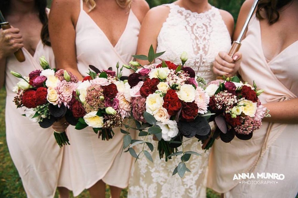 Bridal Party Flowers | Astra Bride Renee | Maggie Sottero Winifred | Brackenridge Country Retreat & Spa | Anna Munro Photography