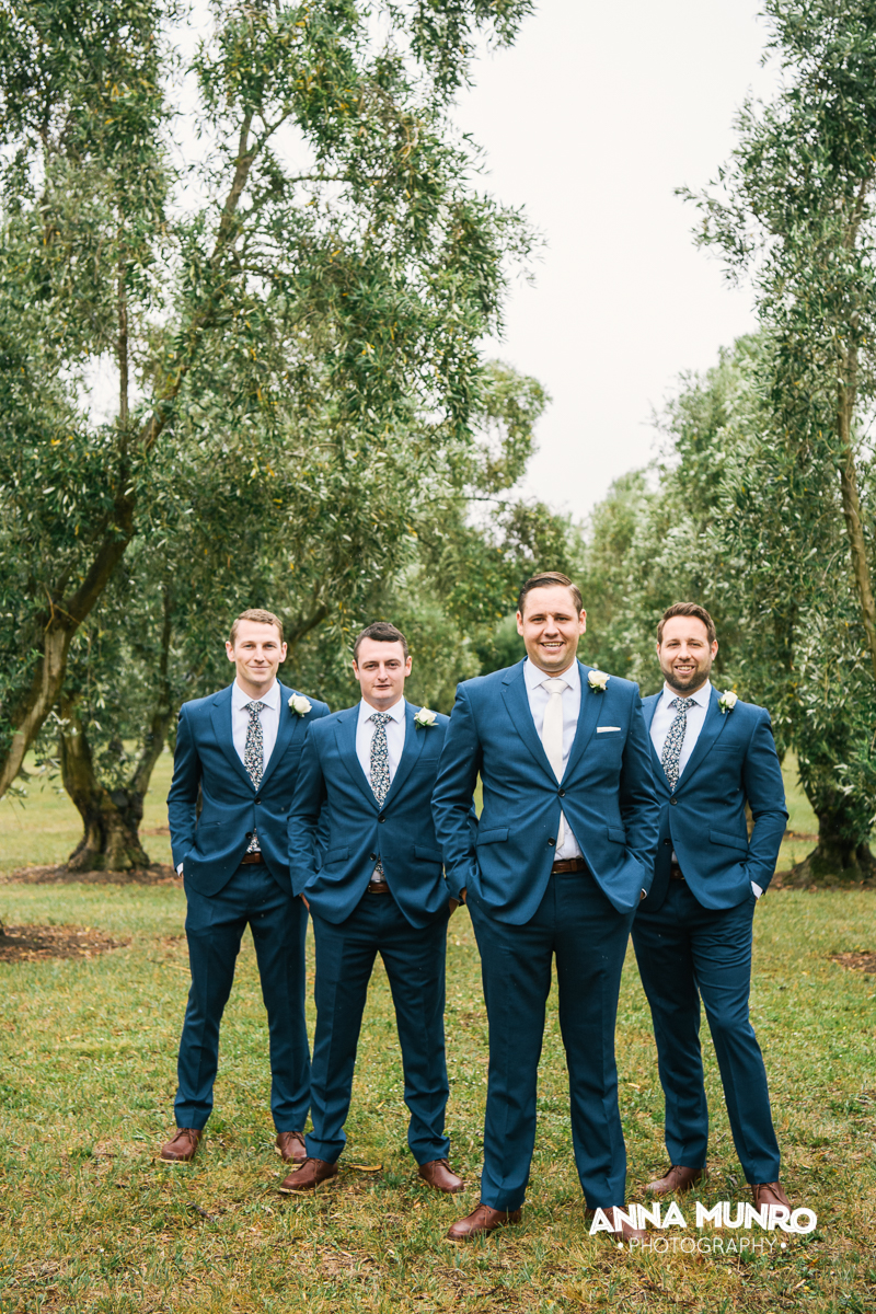 Groomsmen in Olive Grove | Astra Bride Renee | Maggie Sottero Winifred | Brackenridge Country Retreat & Spa | Anna Munro Photography