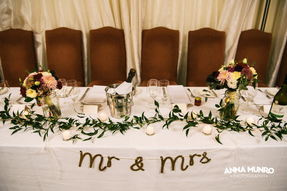 Reception - Bridal Table | Astra Bride Renee | Maggie Sottero Winifred | Brackenridge Country Retreat & Spa | Anna Munro Photography