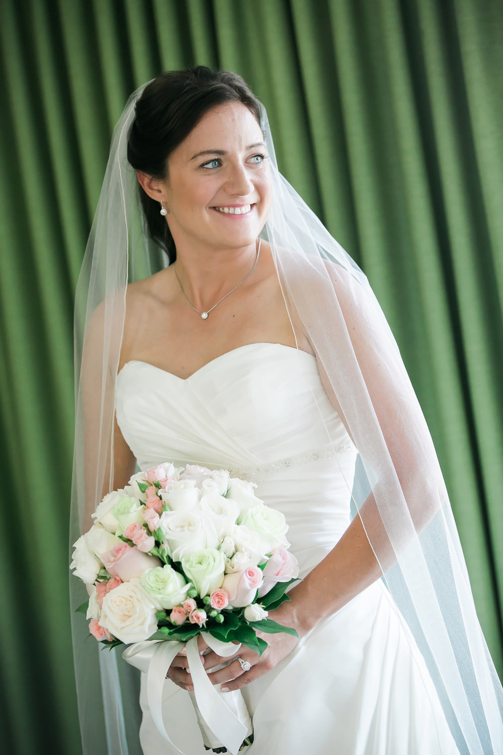 Subtle Pink Bridal Bouquet | Astra Bride Candice | Cristina Rossi CR914 | Royal Hawaiian Hotel, Hawaii | Dulce Photography