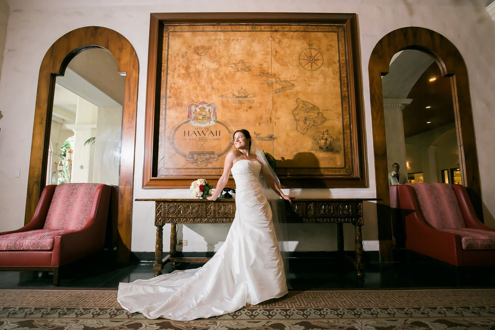 Gown Train | Astra Bride Candice | Cristina Rossi CR914 | Royal Hawaiian Hotel, Hawaii | Dulce Photography