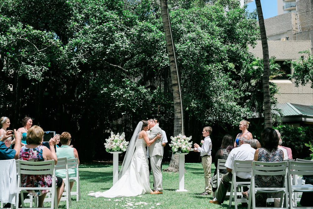 Garden Ceremony | Astra Bride Candice | Cristina Rossi CR914 | Royal Hawaiian Hotel, Hawaii | Dulce Photography