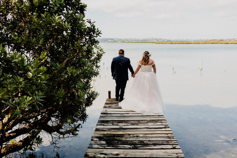 On The Jetty - Relaxed Backyard Wedding |  Astra Bride Stevie | Cristina Rossi AK1101 | Pt Chevalier, Auckland | Joanna Wickham Photography