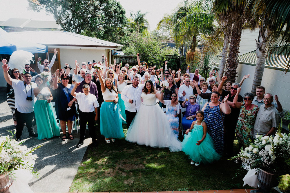 The Guests - Relaxed Backyard Wedding |  Astra Bride Stevie | Cristina Rossi AK1101 | Pt Chevalier, Auckland | Joanna Wickham Photography