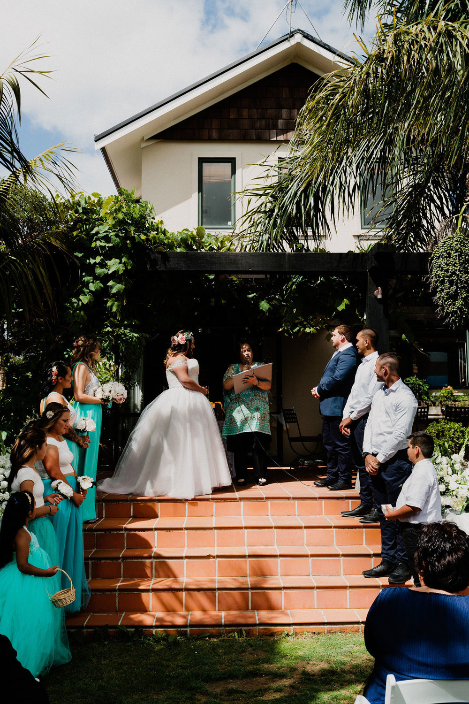 Ceremony - Relaxed Backyard Wedding |  Astra Bride Stevie | Cristina Rossi AK1101 | Pt Chevalier, Auckland | Joanna Wickham Photography