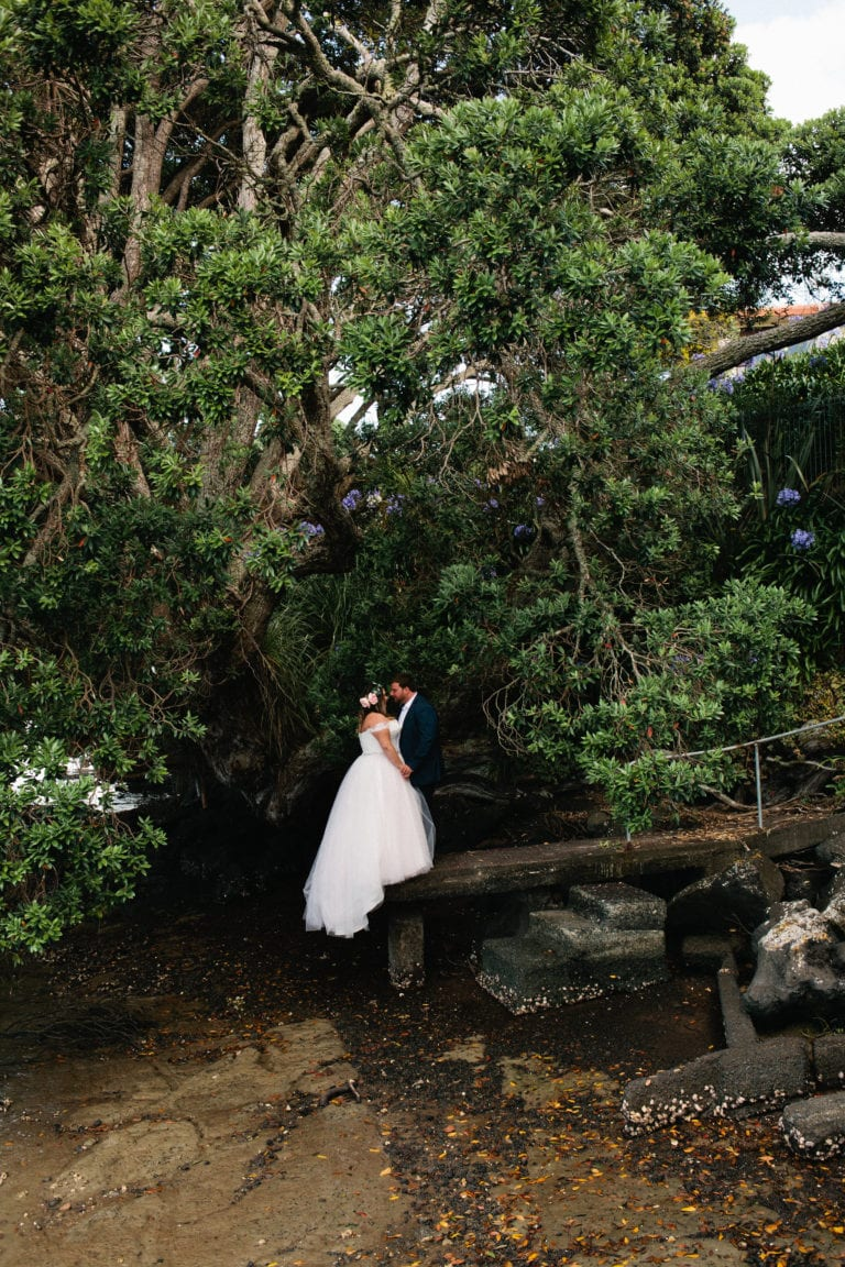 By the water - Relaxed Backyard Wedding |  Astra Bride Stevie | Cristina Rossi AK1101 | Pt Chevalier, Auckland | Joanna Wickham Photography