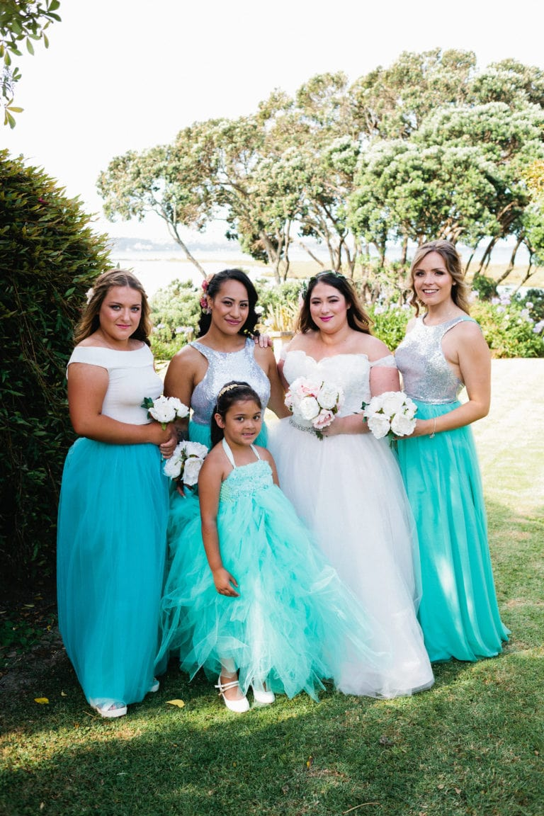 Teal Bridesmaids - Relaxed Backyard Wedding |  Astra Bride Stevie | Cristina Rossi AK1101 | Pt Chevalier, Auckland | Joanna Wickham Photography