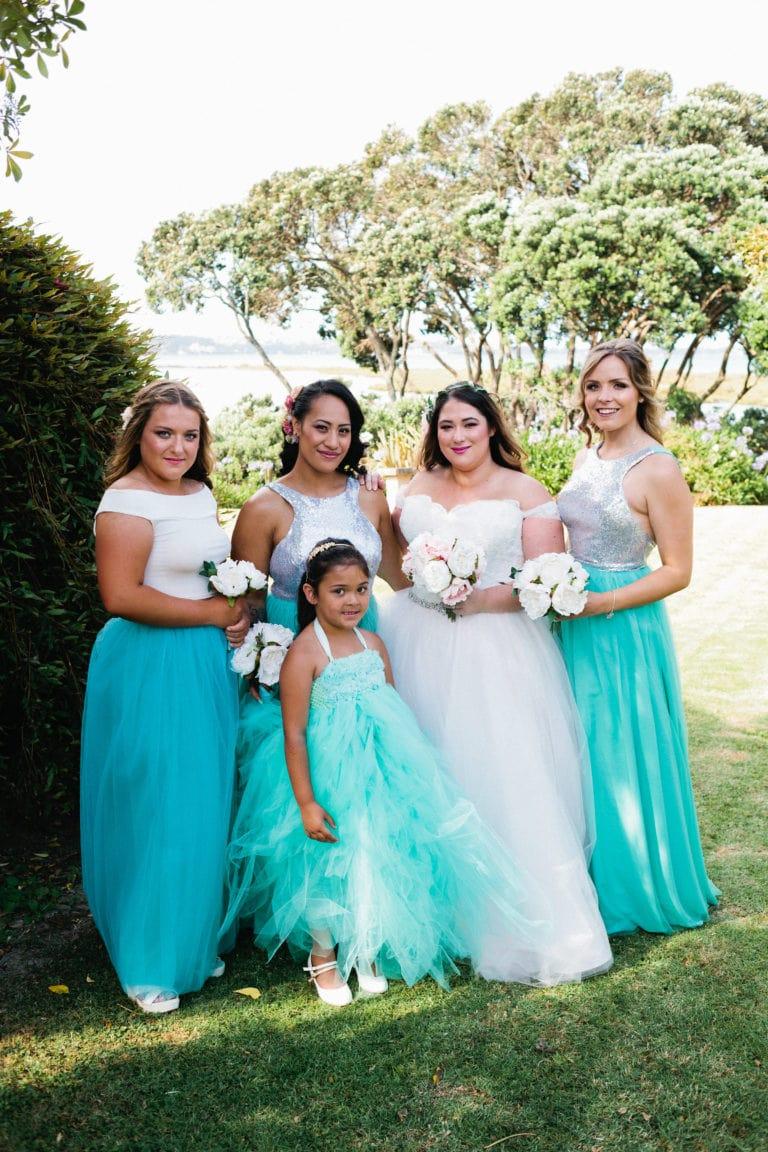 Teal Bridesmaids - Relaxed Backyard Wedding |  Astra Bride Stevie | Cristina Rossi AK1101 | Pt Chevalier, Auckland | Joanna Wickham Photography