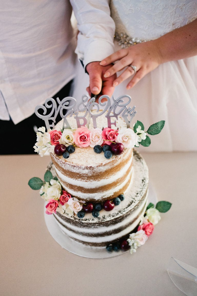 The Cake - Relaxed Backyard Wedding |  Astra Bride Stevie | Cristina Rossi AK1101 | Pt Chevalier, Auckland | Joanna Wickham Photography