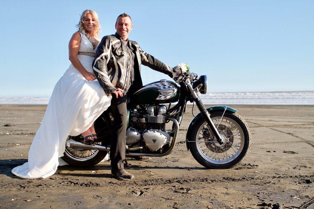 Bride and Groom on a motorbike | Bridal Outlet Bride Nikki
