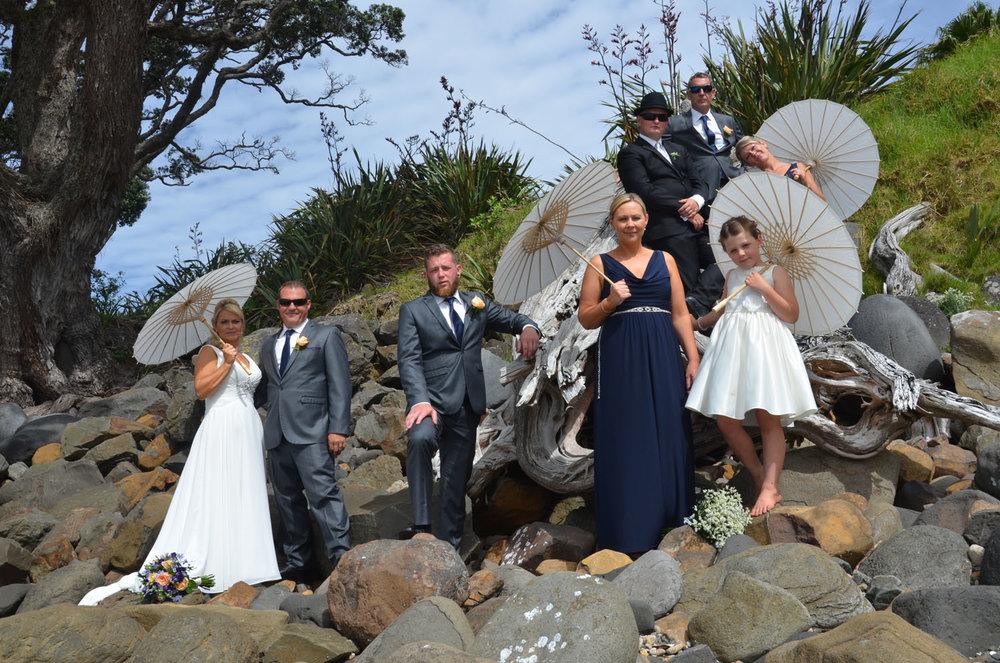 The Wedding Party | Astra Bride Sharleen | Bonny 6524 | Kuaotunu, Coromandel Peninsula | Tracey Henry Photography