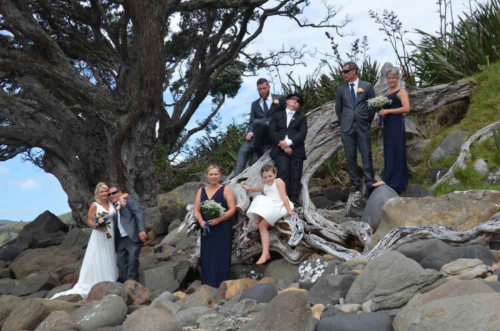 The Bridal Party | Astra Bride Sharleen | Bonny 6524 | Kuaotunu, Coromandel Peninsula | Tracey Henry Photography