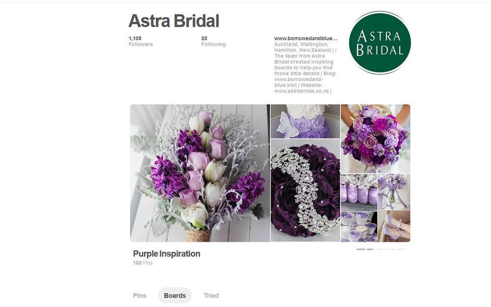 Astra Bridal Pinterest page