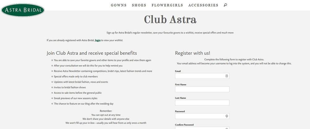 Astra Bridal club registration page