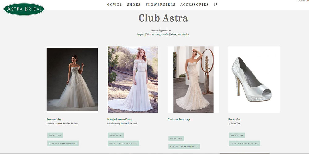 Example of an Astra Bridal wishlist
