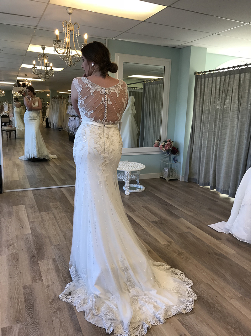 Bride trying in store at Wellington Astra Bridal
