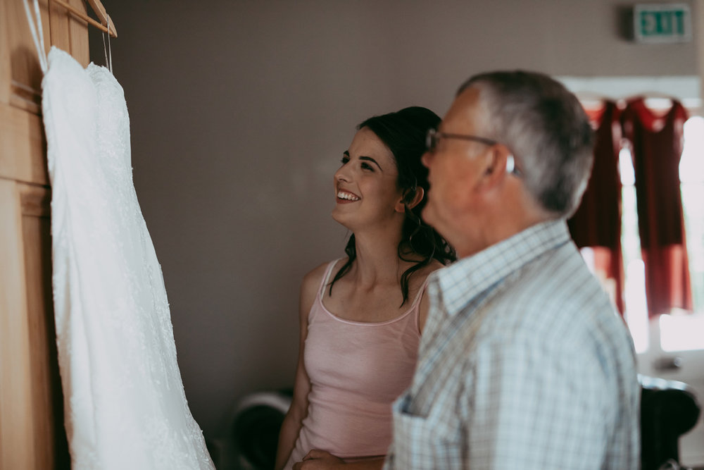 Bride and Dad checking out the gown | Astra Bride Sonja