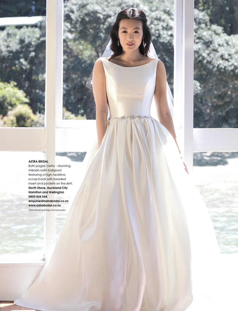 Stunning mikado satin ballgown - The Verity is totally at home alongside the 60s architecture of the French Bay Yacht Club with a backdrop of sparkling ocean!