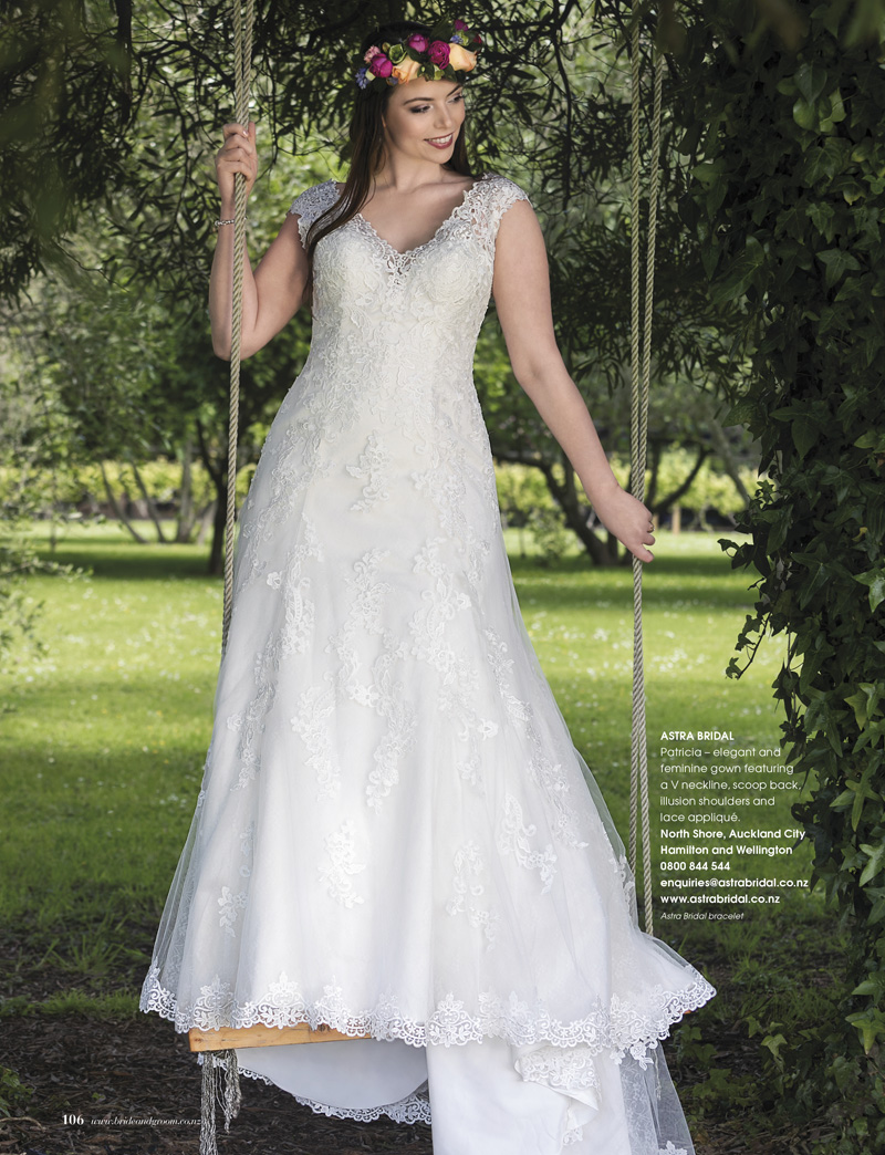 elegant and feminine... - the Rebecca Ingram Particia would be perfect for any bride wanting to shine on her wedding day.  A great choice to fit in with the pretty gardens at Marovina with its V neckline, scoop back, illusion shoulders and lace appliques.