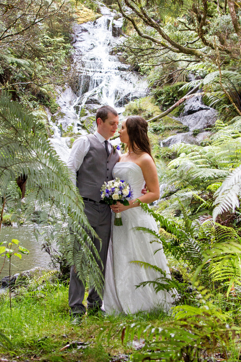Favourite part of the Day... - would have to be becoming husband and wife and saying our own vows to each other! Also getting some photos at a beautiful waterfall near Cooks Beach, which we will treasure forever. And even though it rained, it put a bit of a spin on the day so that made for some good shots as we got to use umbrellas for some of our photo props! It also added excitement as we got some photos taken at a few different locations that we weren't expecting on the day, because of the rain!