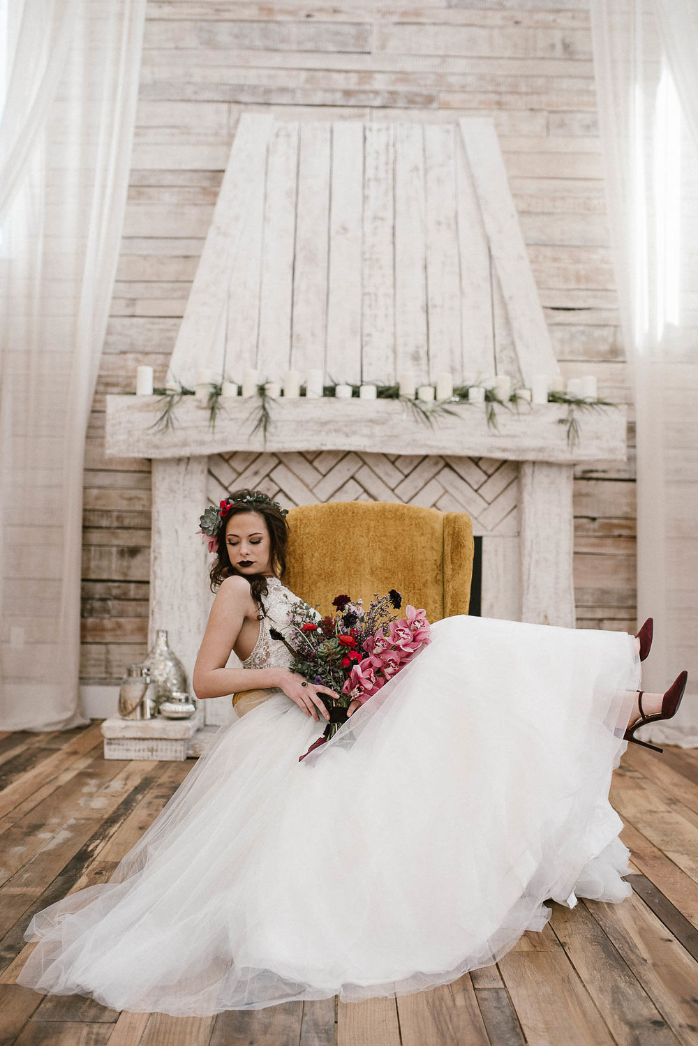 - The floral colour palette of this shoot is so sumptuously rich against the stark white of the gown and is beautifully balanced with make up and accessories.Just look at those shoes!