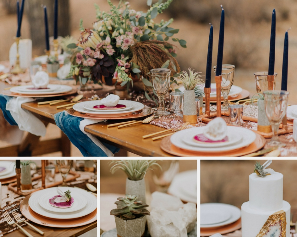 Styled settings... - ...for a desert wedding to complement the Maggie Sottero Fredricka.