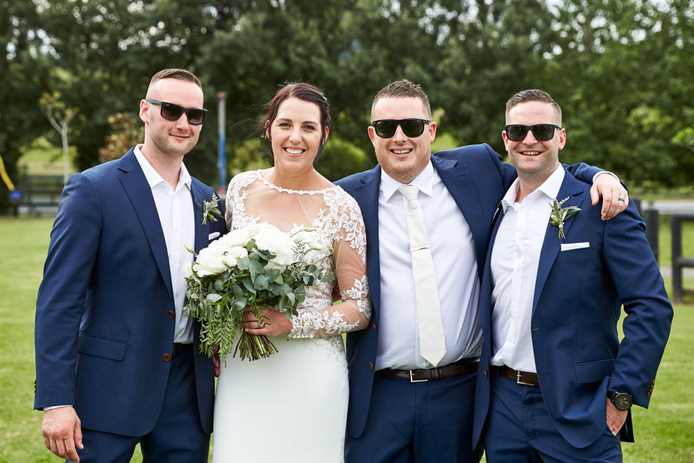 Groomsmen in sunglasses | Beach Wedding | Astra Bridal | Maggie Sottero - Blanche | Laura Court Photography