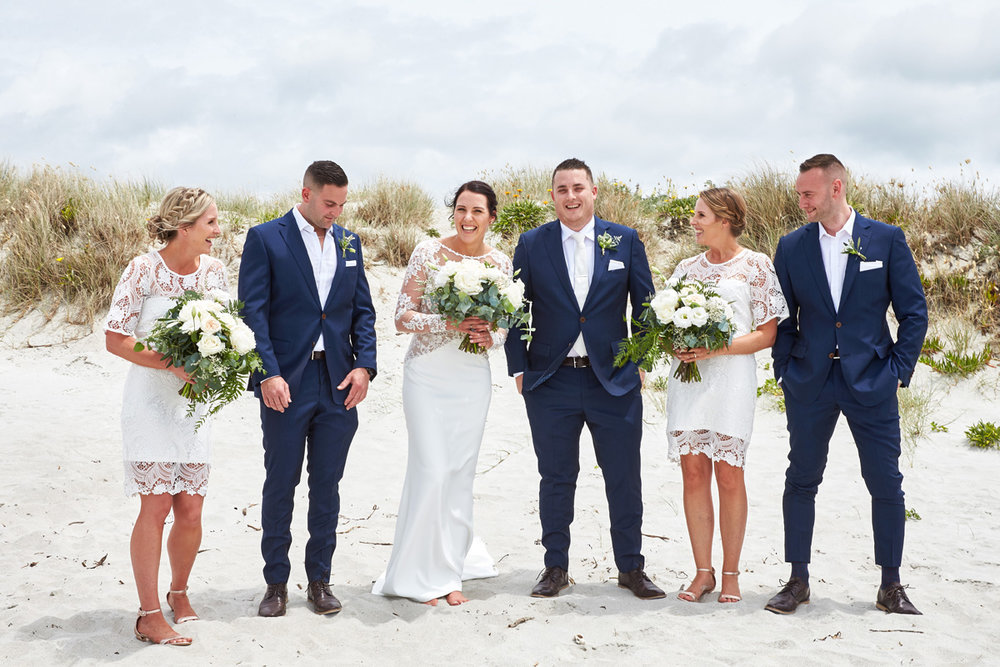 Bridal Party | Beach Wedding | Astra Bridal | Maggie Sottero - Blanche | Laura Court Photography