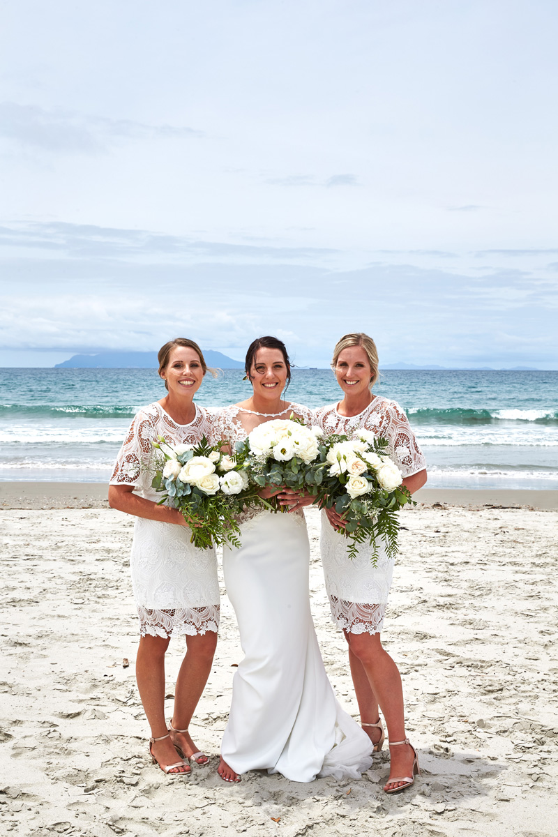 White Lace Bridesmaids | Beach Wedding | Astra Bridal | Maggie Sottero - Blanche | Laura Court Photography