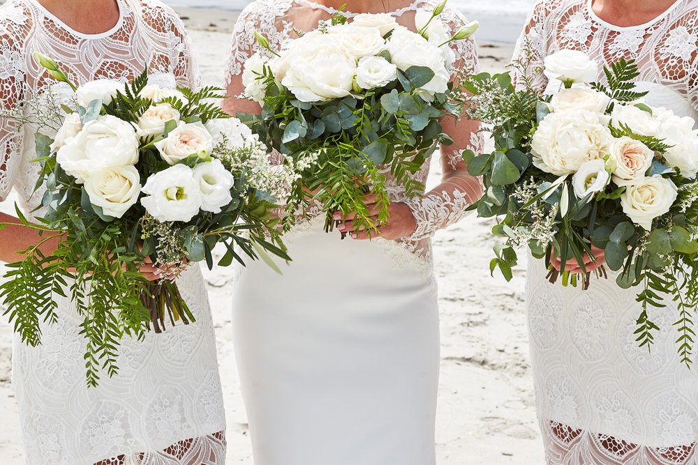 White Roses Wedding Flowers | Beach Wedding | Astra Bridal | Maggie Sottero - Blanche | Laura Court Photography