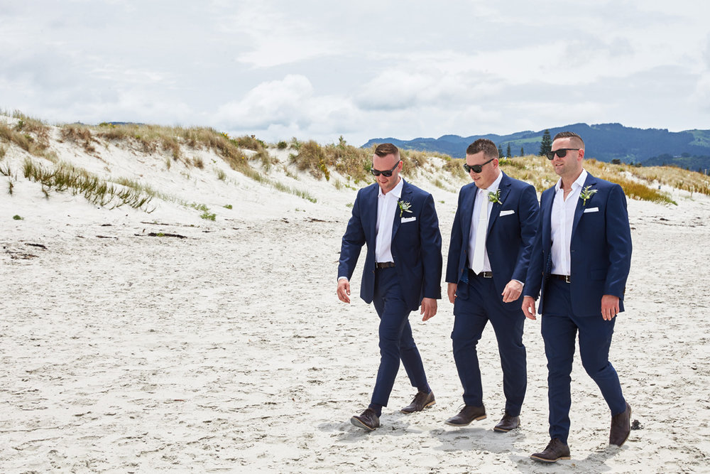 Navy Suits | Beach Wedding | Astra Bridal | Maggie Sottero - Blanche | Laura Court Photography