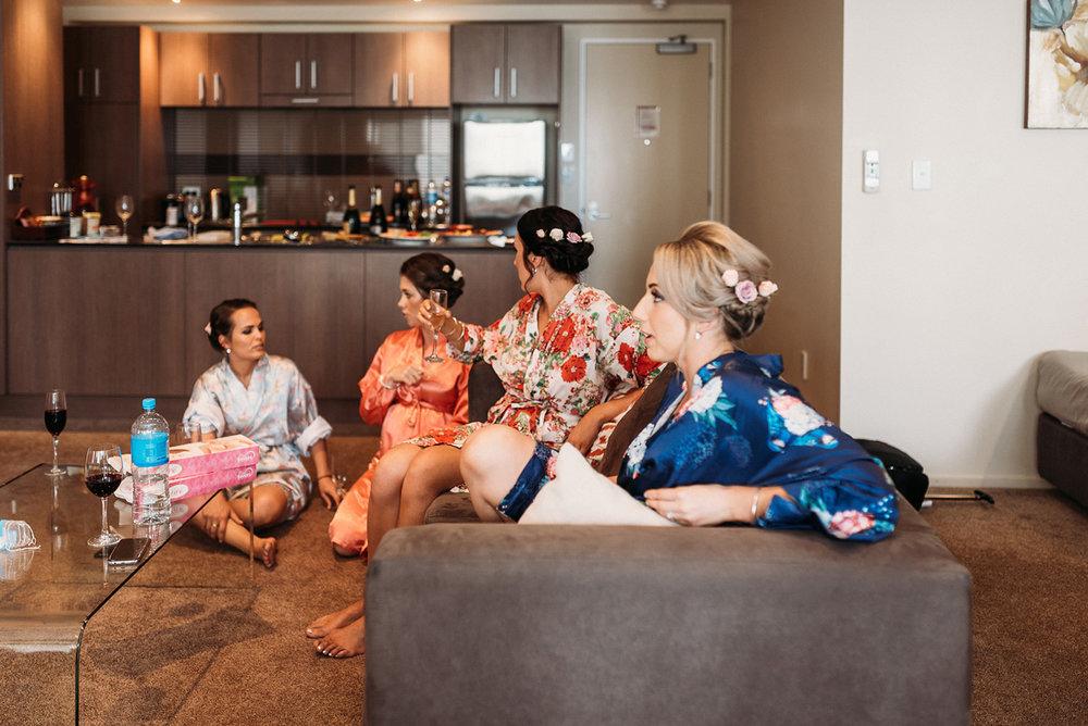 Satin robe | Paihia Wedding | Astra Bridal | Maggie Sottero - Taiya | Jess Burges Photography