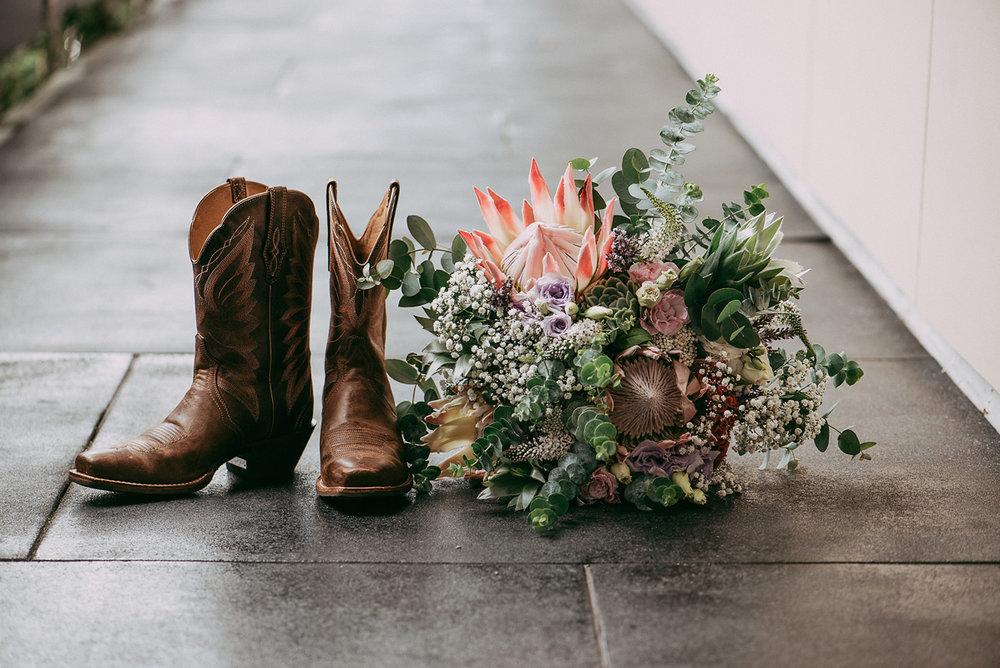 Cowboy Wedding Boots | Paihia Wedding | Astra Bridal | Maggie Sottero - Taiya | Jess Burges Photography