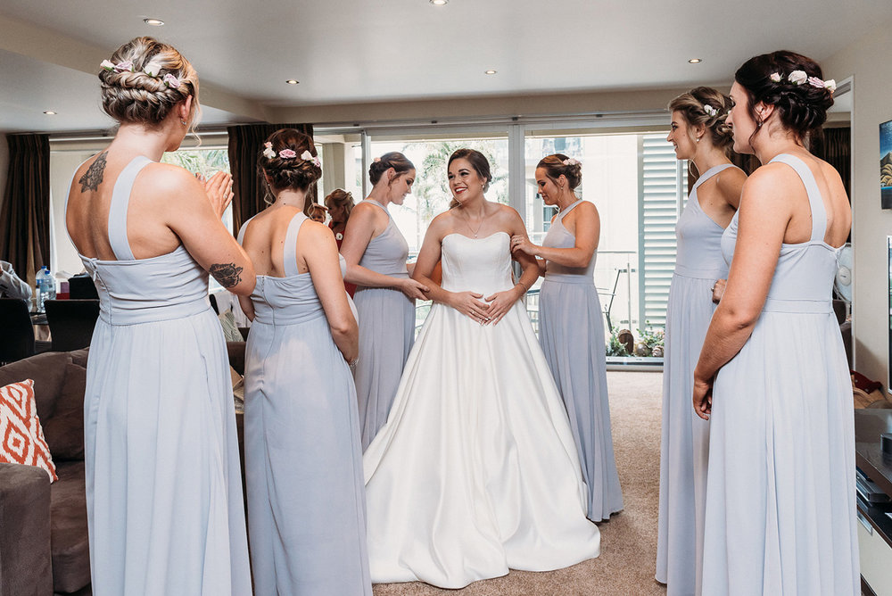 Bridesmaid dresses | Rustic Wedding | Astra Bridal | Maggie Sottero - Taiya | Jess Burges Photography