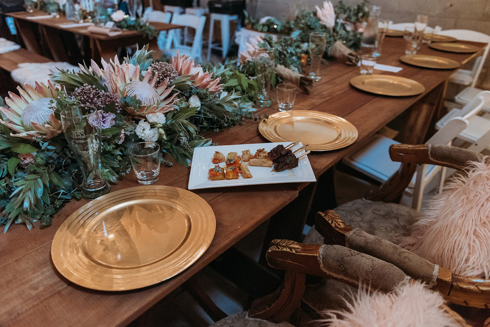 Gold Plates | Rustic Wedding | Astra Bridal | Maggie Sottero - Taiya | Jess Burges Photography