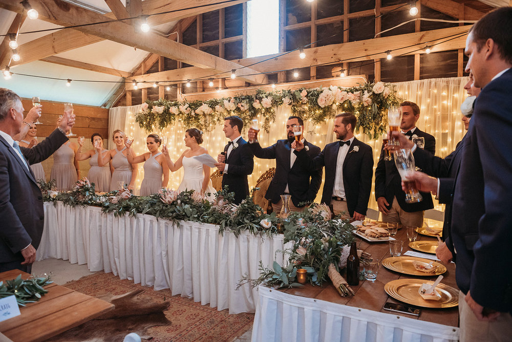 Wedding Toast | Rustic Wedding | Astra Bridal | Maggie Sottero - Taiya | Jess Burges Photography