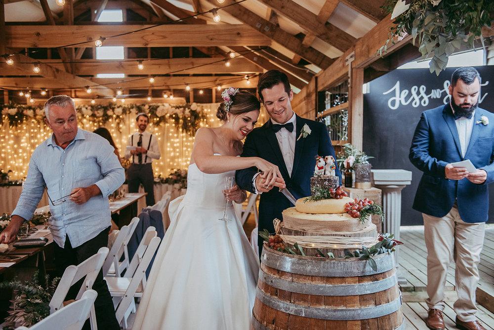 Cheese wedding cake | Rustic Wedding | Astra Bridal | Maggie Sottero - Taiya | Jess Burges Photography