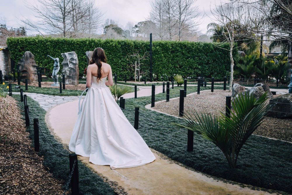 Wedding Gown Train   Astra Bridal   Maggie Sottero Taiya   Sculpture Park   Photography Greg Campbell