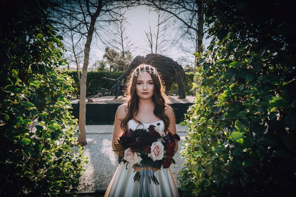 Wedding Bouquet   Astra Bridal   Maggie Sottero Taiya   Sculpture Park   Photography Greg Campbell