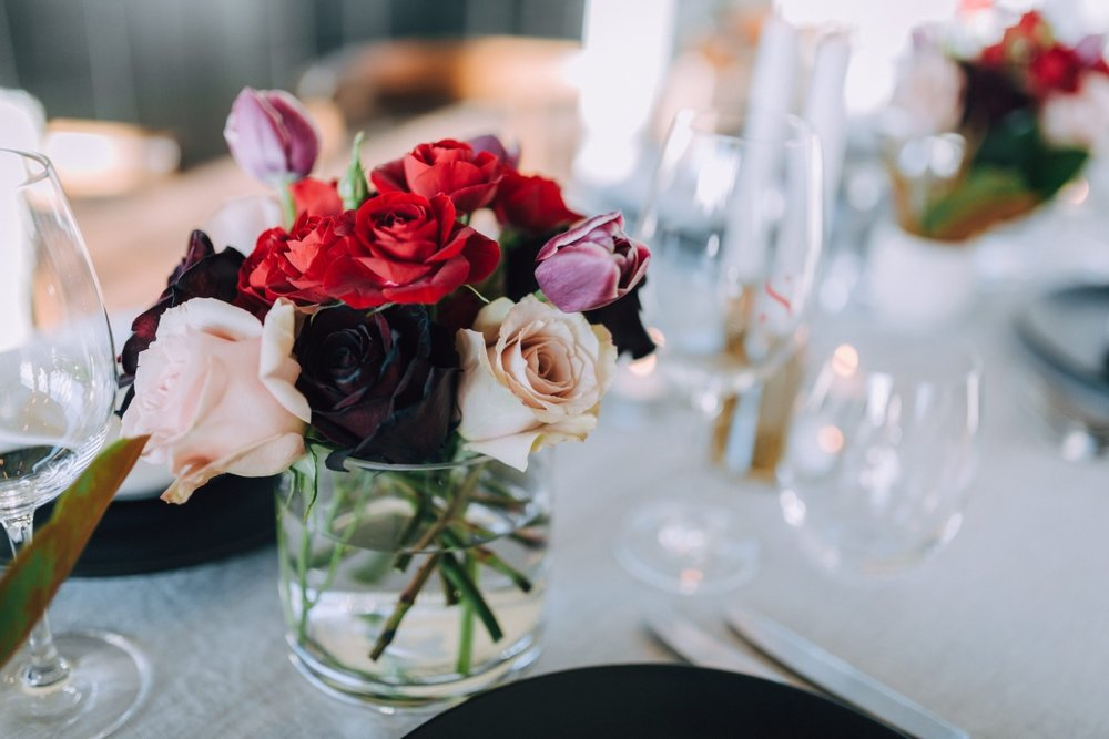 Wedding Table Flowers | Astra Bridal | Maggie Sottero Taiya | Sculpture Park | Photography Greg Campbell