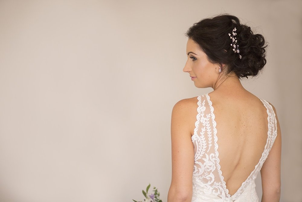 Low V back | Lace Wedding Gown | Wharerata Function Centre Wedding | Maggie Sottero – Winifred | Astra Bridal | Fantail Photography