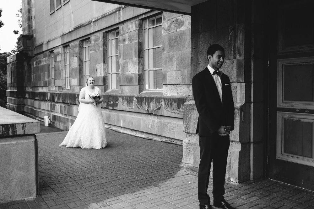 First Look Photo | Classic Urban Wedding | Indian Wedding | Bonny 1420 | Astra Bridal | Candy Capco Photography