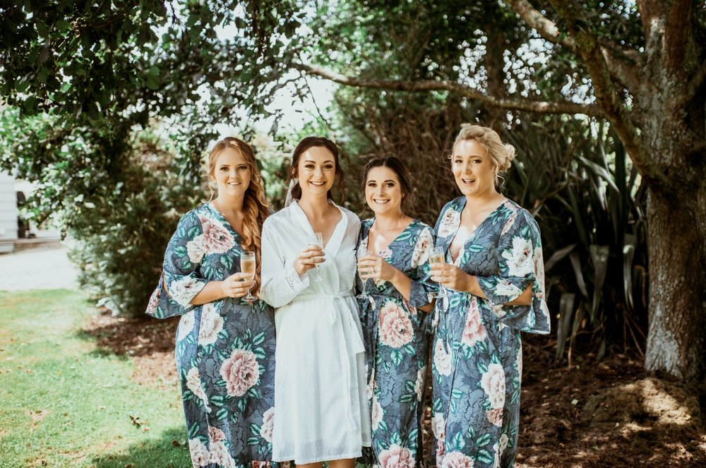 Floral Robes | Bridesmaids |Rustic Country Wedding | Maggie Sottero | Astra Bridal | David Le Photography