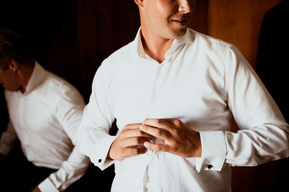 Groom white shirt | Rustic Country Wedding | Maggie Sottero | Astra Bridal | David Le Photography